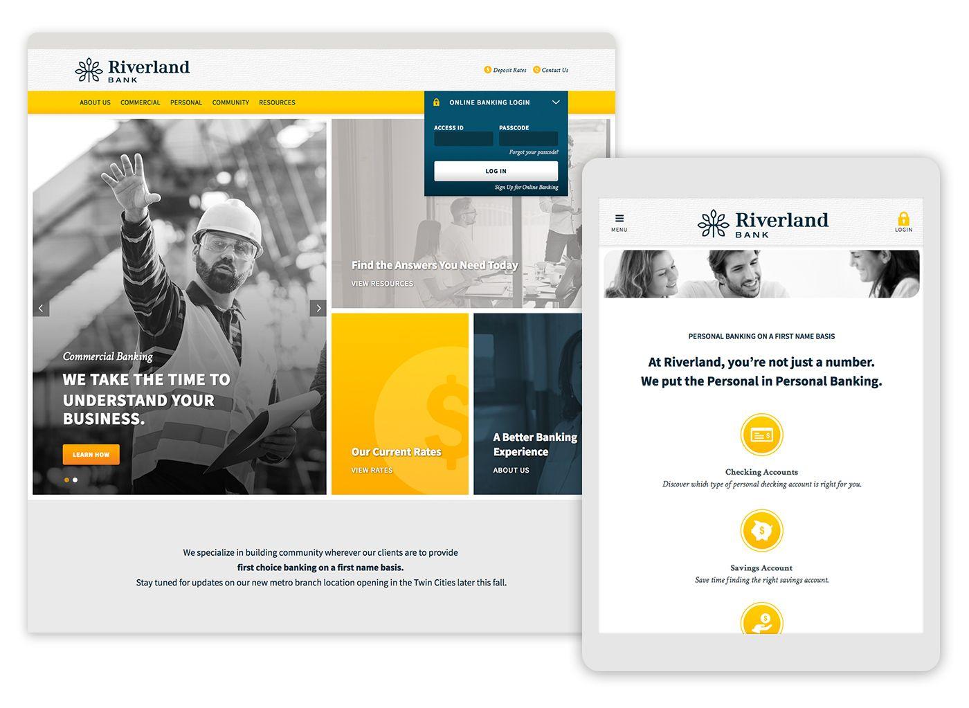 Riverland Bank 5ive Website Design Minneapolis Mn Banks Website Website Design Rebranding