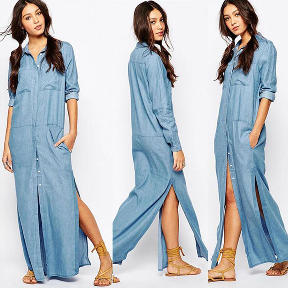 Women fashion long sleeve casual loose vestido split maxi long denim