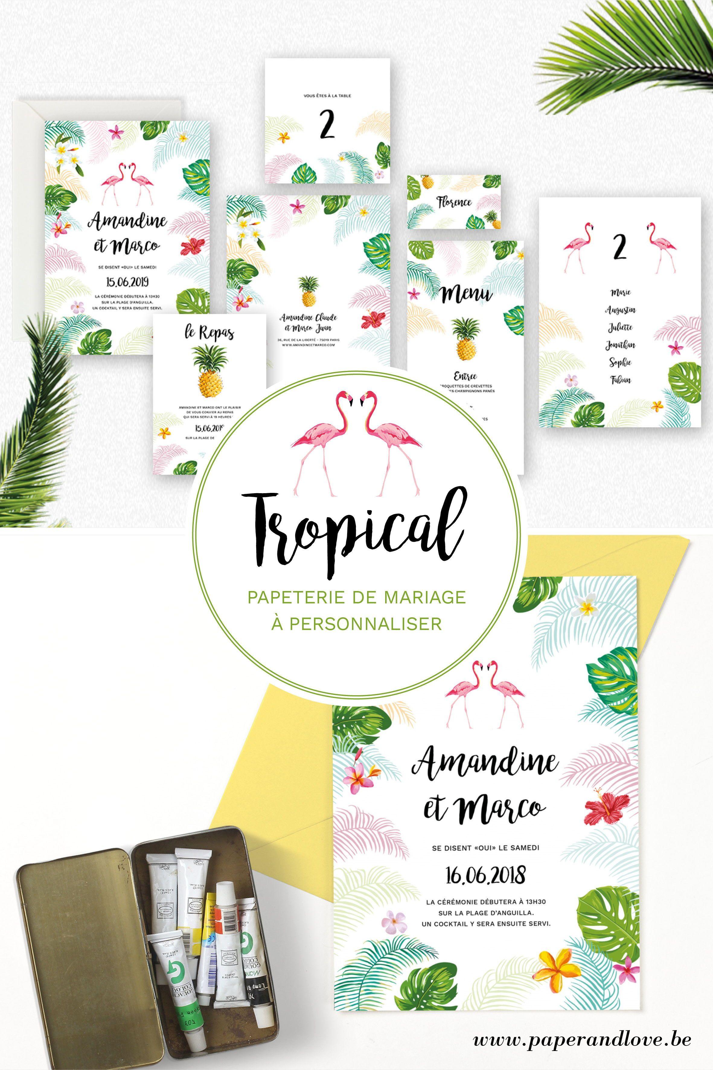 Tropical Plage Palmiers personnalisé mariage ou fête RSVP cartes