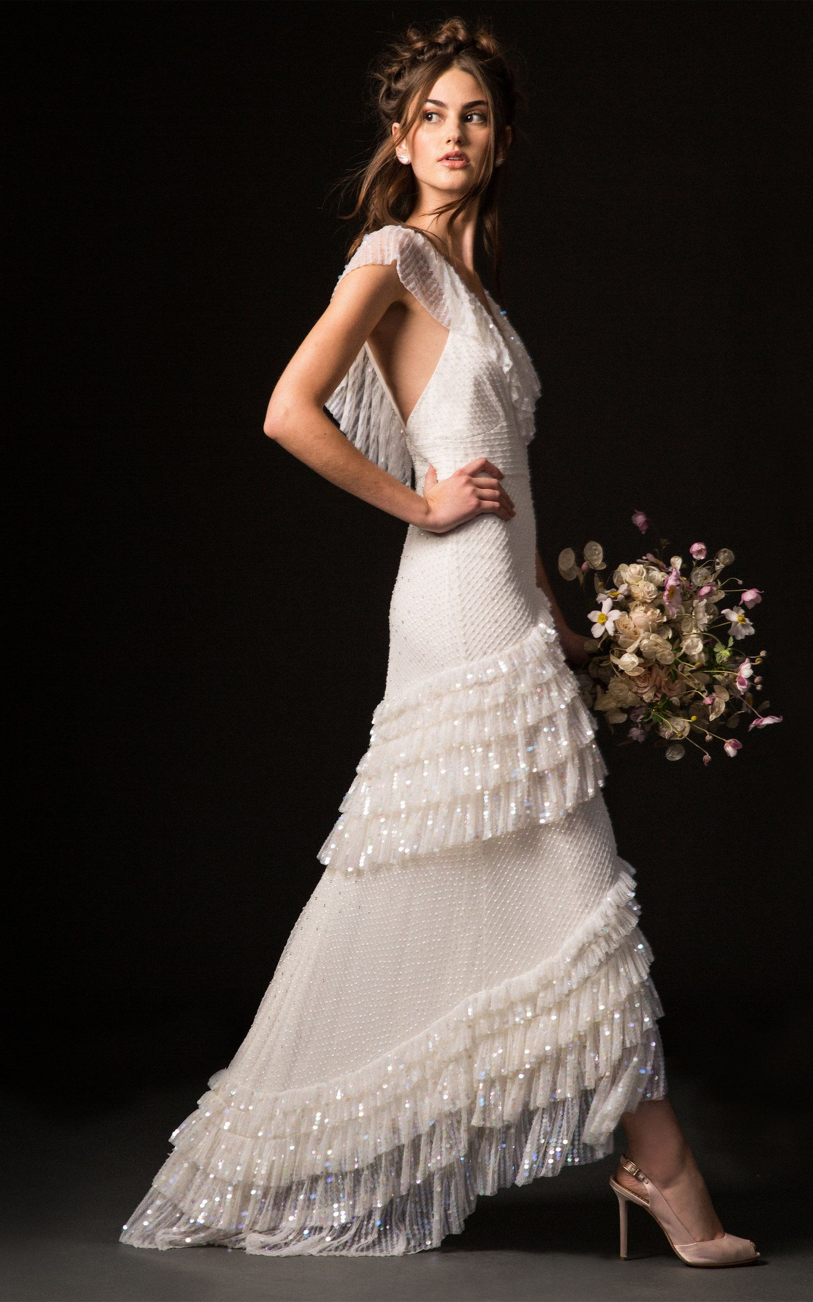 Temperley London Bridal Mimi Gown With Ruffle Cascading Hem In