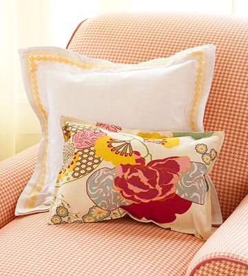 Create Semi-Handmade Pillows like these from napkins and placemats! More Simple-Sew Pillow Ideas: http://www.bhg.com/decorating/do-it-yourself/accents/simple-sew-pillows/?socsrc=bhgpin041112simplesew