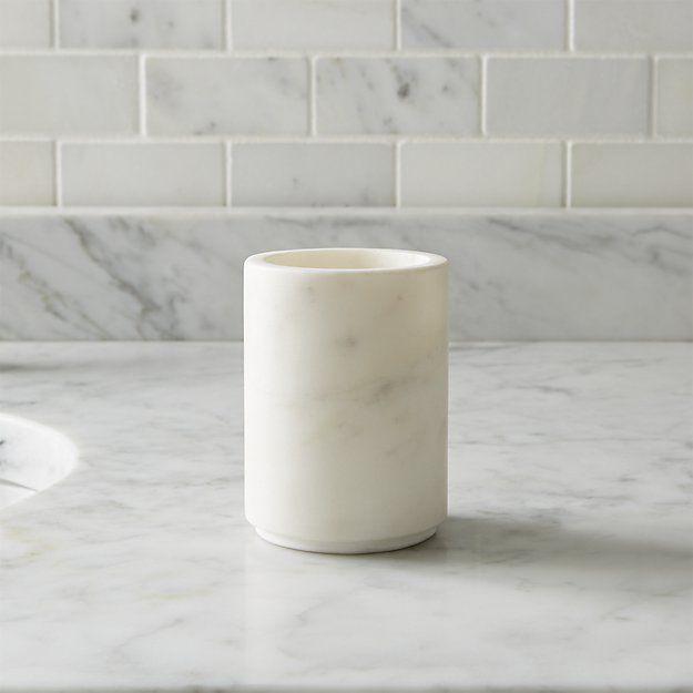 Graydon Marble Bathroom Tumbler   Crate And Barrel