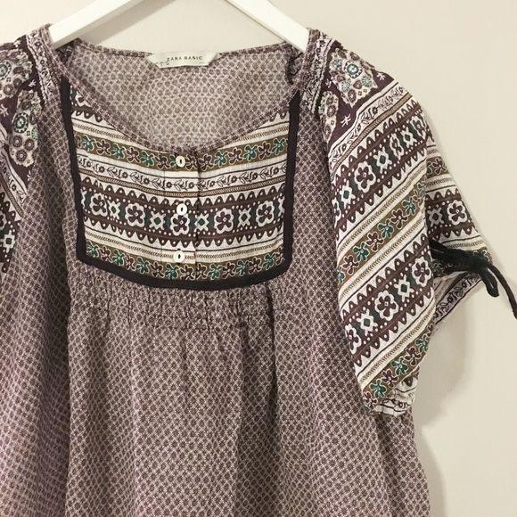 Zara Purple Tunic Cute peasant top from Zara. Lightweight material. Like new condition. Zara Tops Tunics