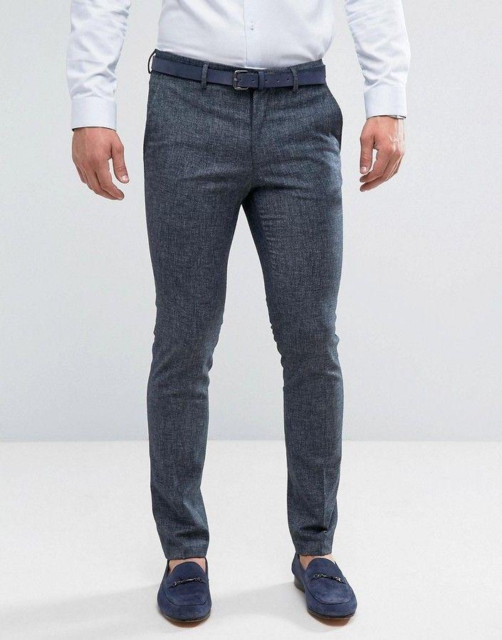 1d76958721 New Look Skinny Fit Linen Suit Pants In Navy | Men Jeans, Joggers ...