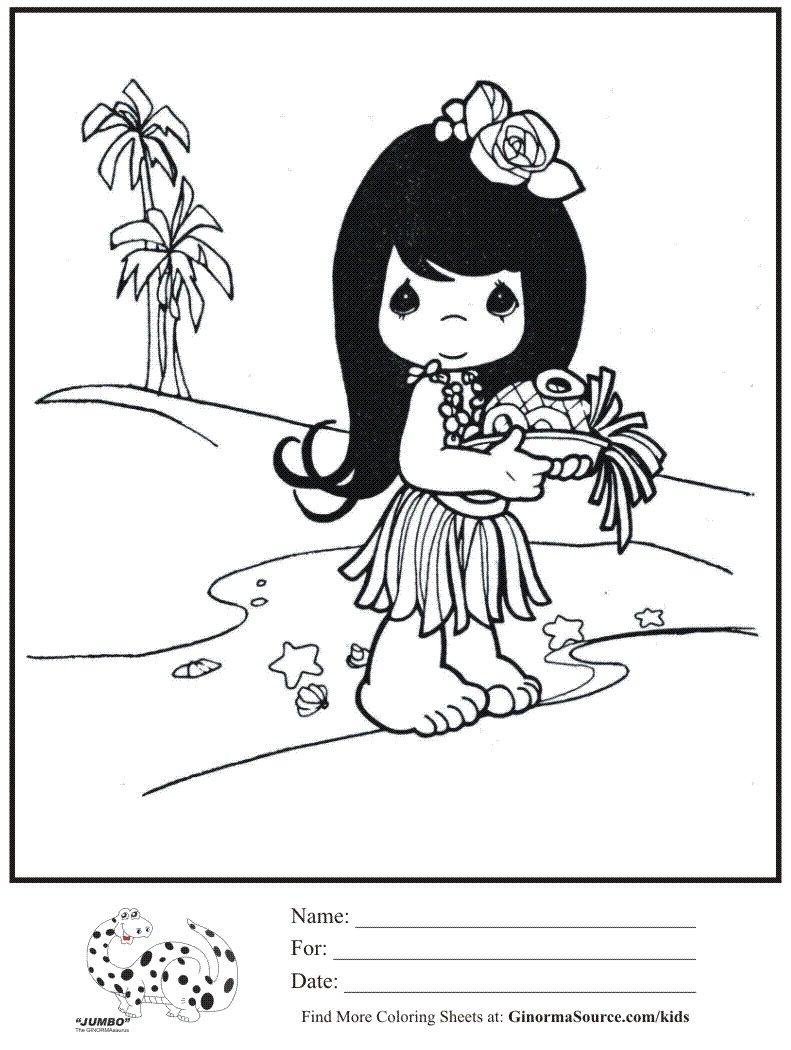 Coloring Page Hawaiian Girl Precious Moments Precious Moments