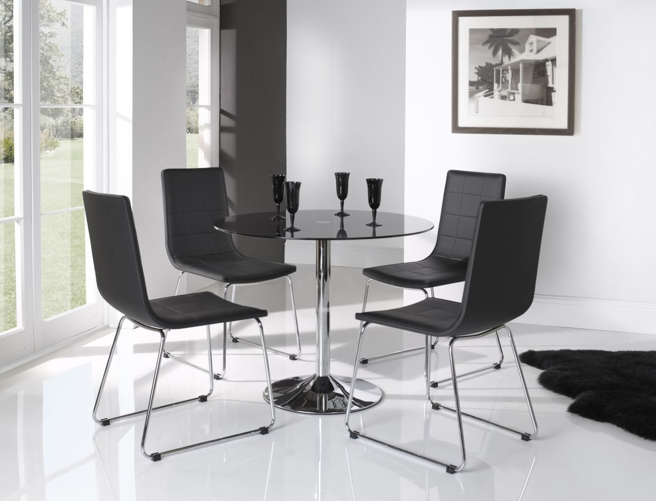 Small Round Glass Table and Chairs - Home Office Desk Furniture ...