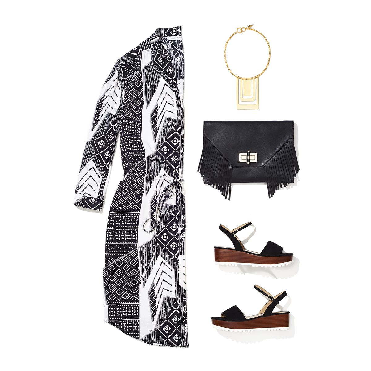 """No look is complete without a bit of """"punctuation"""" as Diane likes to call it! From """"flatforms"""" to fringe, see how we accessorize the Freya dress on the blog: http://on.dvf.com/1TAxkbD"""
