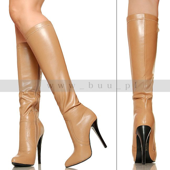 Karmelowe Kozaki Zgrabne I Seksowne Boots Stiletto Boot Stiletto