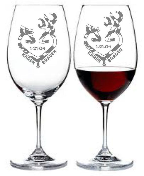 Etched Wine Glass Set Of 2 Deer, Doe, Hunting, Camo