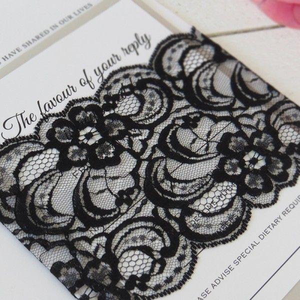 Black Raschel Lace wrap on our Timeless invitation suite