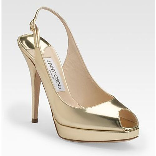 Jimmy Choo Clue Metallic Leather Slingback Peep Toe Pumps Gold
