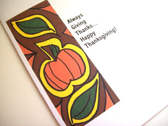 Handmade Greeting Card Thanksgiving Pumpkin by ArtbyKellyMichelle