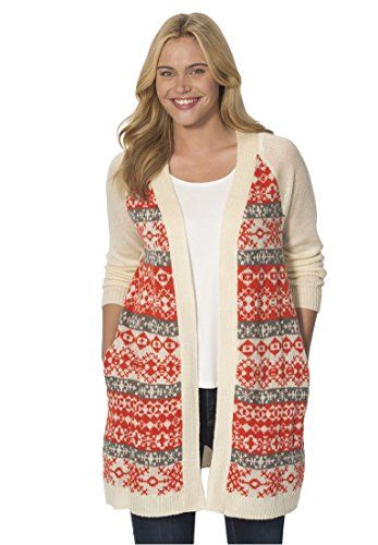Womens Plus Size Fair Isle Cardigan Sweater Bright Orange Fair ...