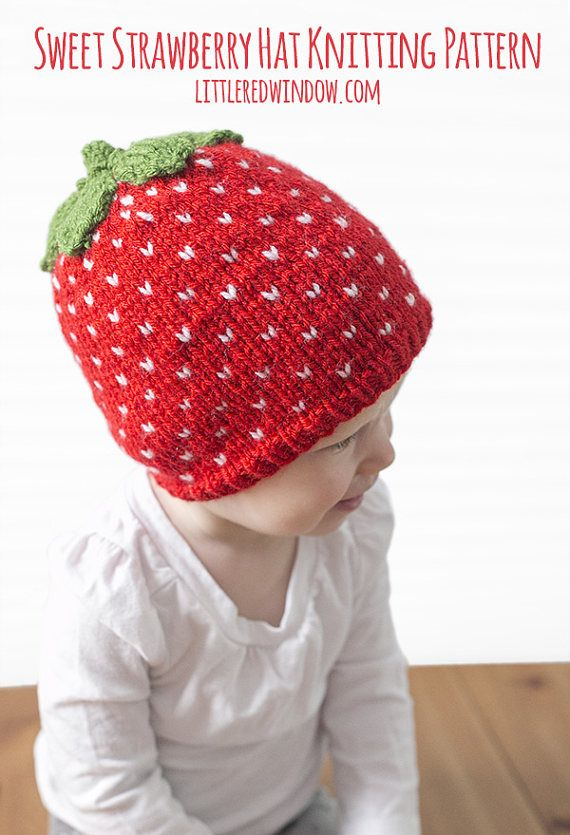 Fair Isle Sweet Strawberry Hat KNITTING PATTERN - knit hat pattern ...