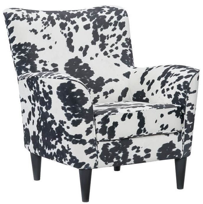 Stylish Black Cow Print Accent Chair