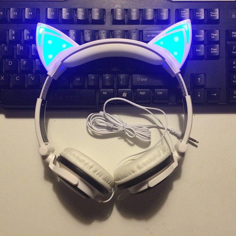 Audifonos Diadema con Orejas de Gato, Luz Led. Audifonos