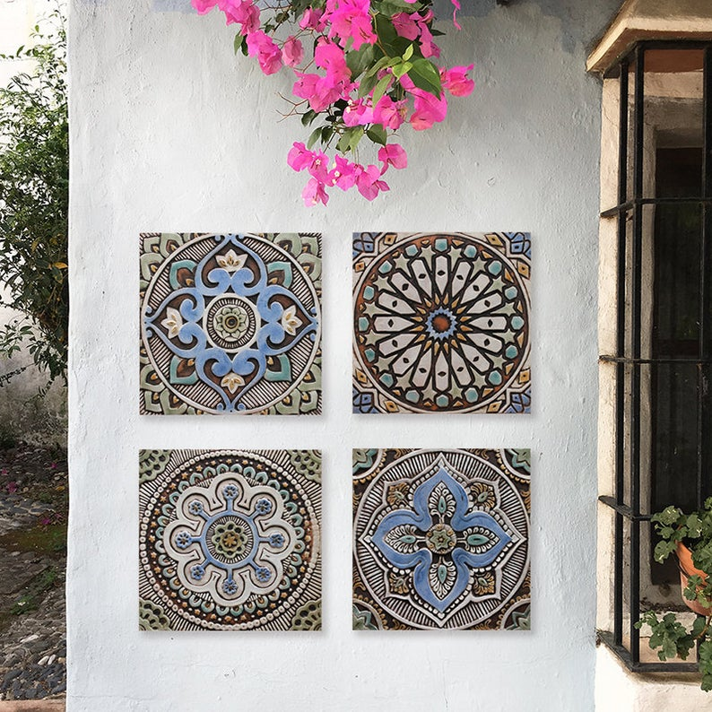 Mandala Wall Hanging Made From Ceramic Perfect For Outdoor Wall Art Or Bathroom Wall Decor Ceramic Wall Art Mandala 2 Matt Blues Outdoor Wall Art Outdoor Wall Decor Tile Wall Art