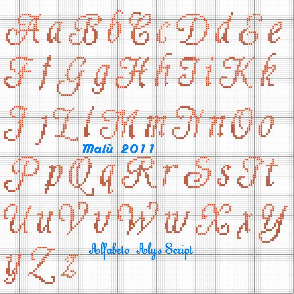 Top alfabeto punto croce corsivo maiuscolo e minuscolo for Ricamo punto croce lettere