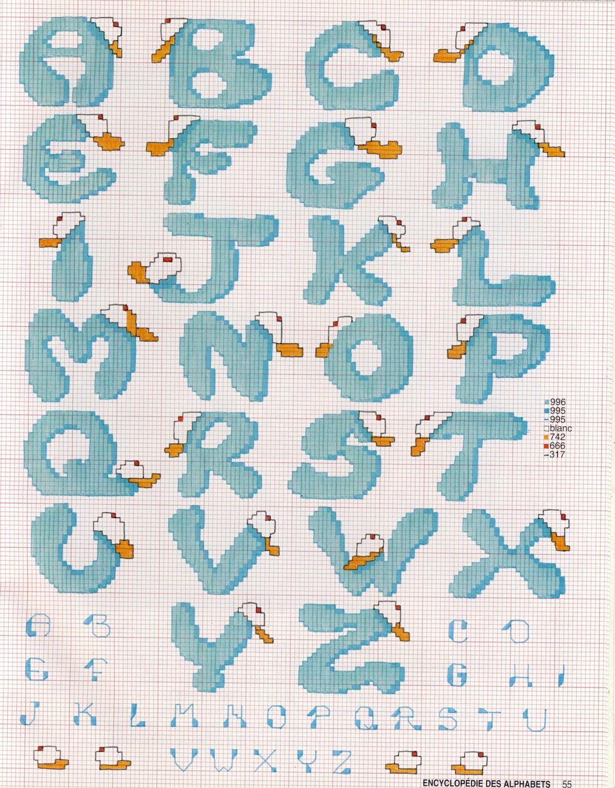 schema punto croce alfabeto casquette punto croce