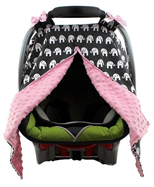 Amazon Dear Baby Gear Carseat Canopy Elephants Tribal Bali Black Minky