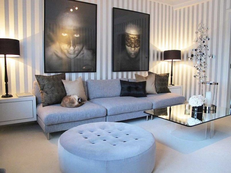 Furniture Cream Carpet Grey Long Sofa With Black Cream Brown Cushion And Little Cat White Stri Apartment Living Room Wallpaper Living Room Living Room Designs Living room ideas cream carpet