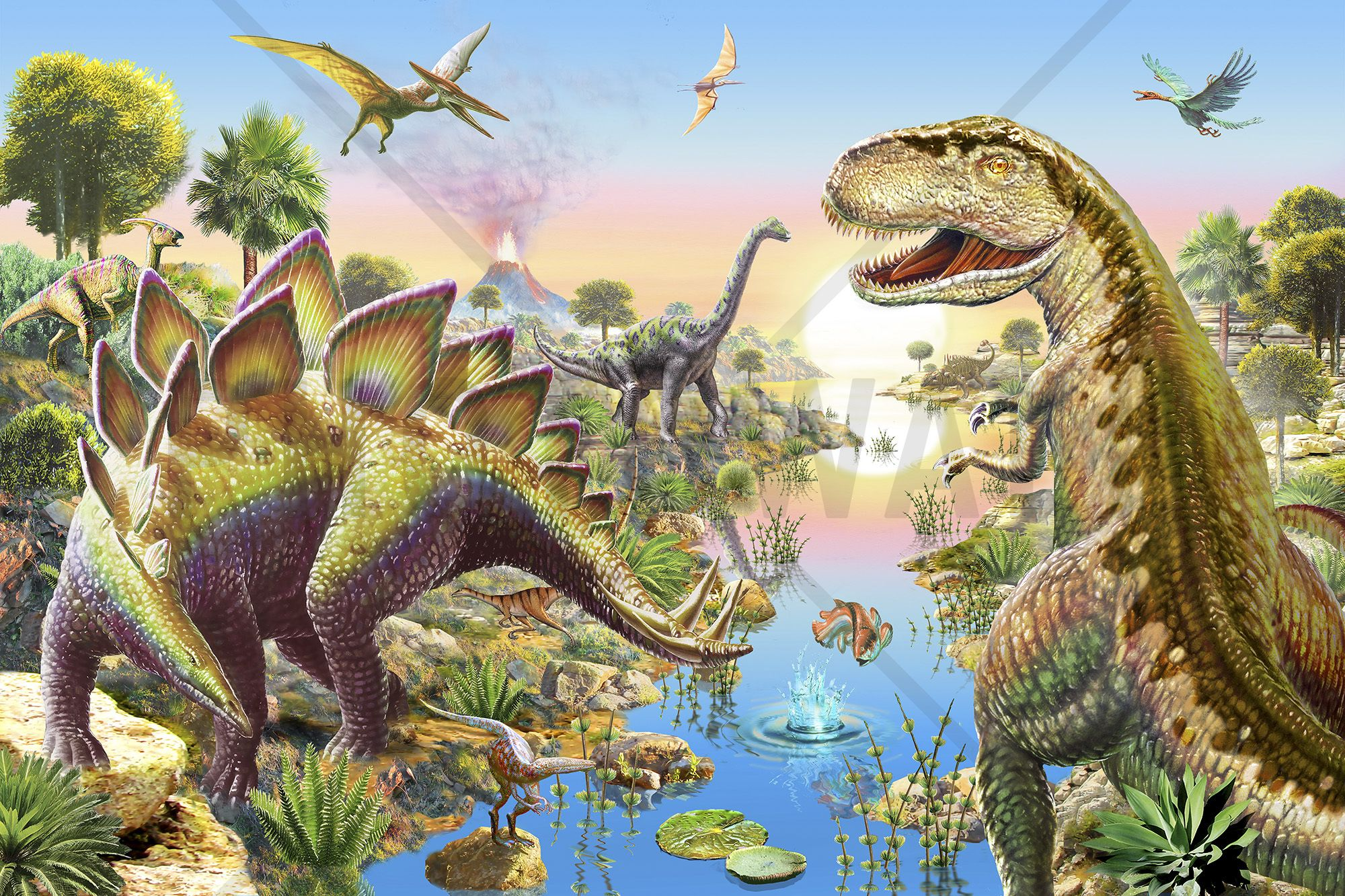 Jurassic River Mural De Pared Y Papel Tapiz Fotogr Fico  ~ Papel Para Habitaciones Infantiles