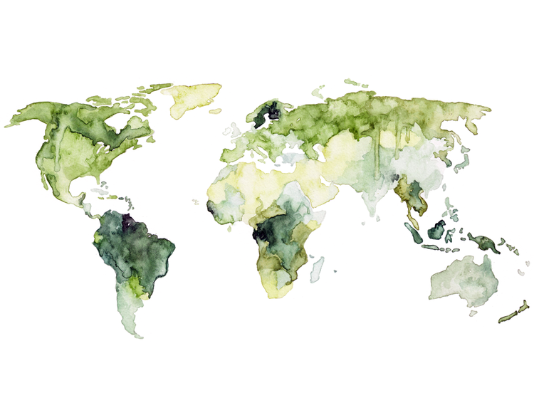 Watercolor Forestation World Map