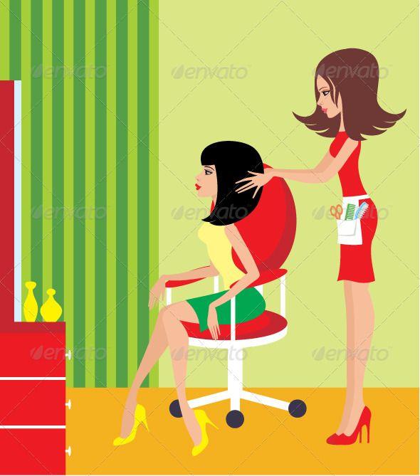 Woman In A Beauty Salon Beauty Salon Hair Illustration Hair Salon Decor