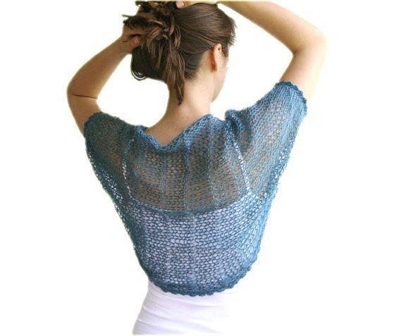Knit Shrug in Teal Blue Mohair Bridal Bolero by ForYouDesign, $45.00