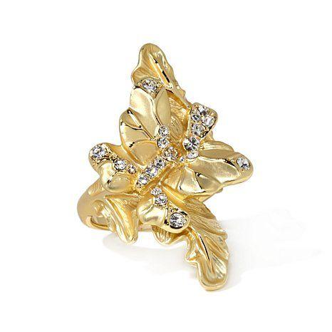 """Roberto by RFM """"Foglia d'Oro"""" Floral Design Ring"""