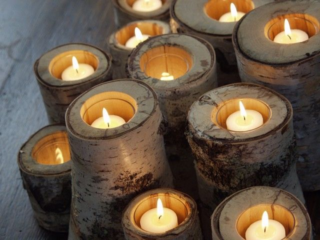 Candles Made From Tree Trunks Log Candle Holders Candle Holders
