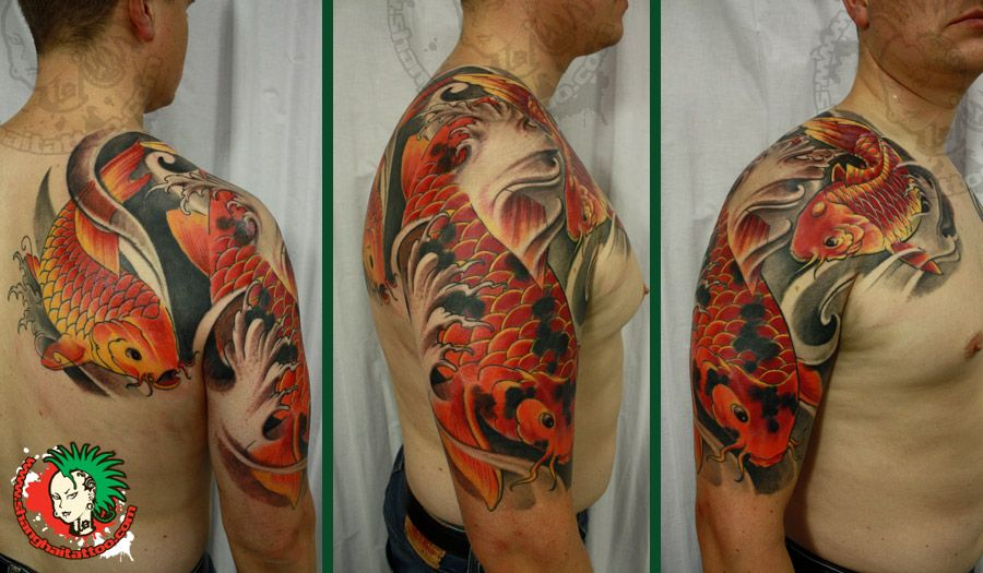 koi fish sleeve tattoos for men koi fish and lotus half sleeve chest tattoo picture at. Black Bedroom Furniture Sets. Home Design Ideas