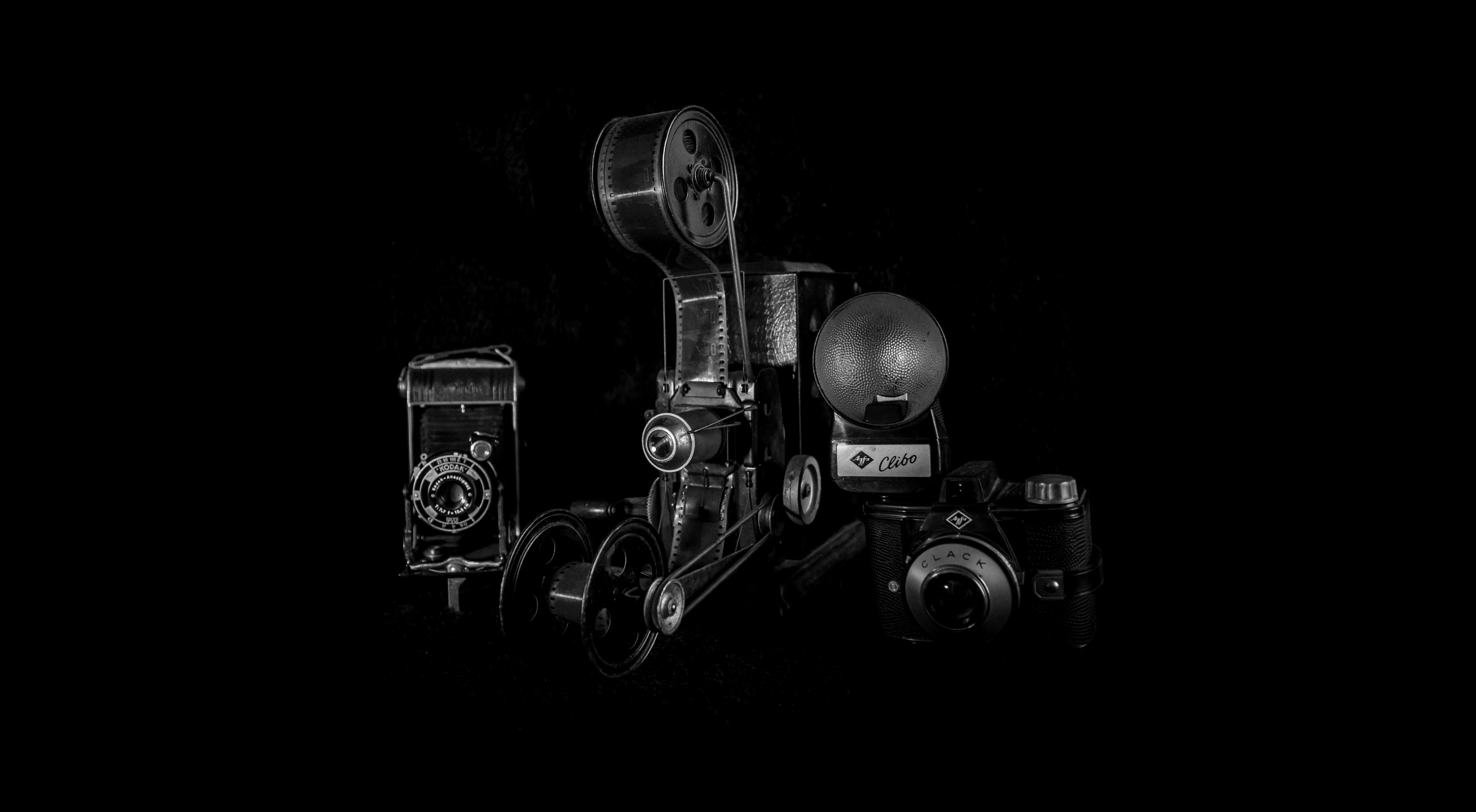 This photo is made by Lisette Marquenie. On the picture you see a Kodak Junior 620, a magic lantarn and a Clack. Old cameras from the old days. #vintage