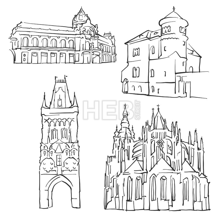 Prague Czech Republic Famous Buildings House Drawings Building