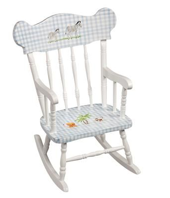 AFKu0027s Childu0027s Rocking Chair, Shown In Blue Gingham Finish With Safari  Motif. Choose From