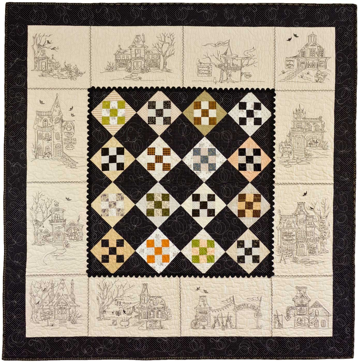 Hocuspocusville  by Meg Hawkey at Crabapple Hill Designs. 12 ... : embroidered quilts patterns - Adamdwight.com
