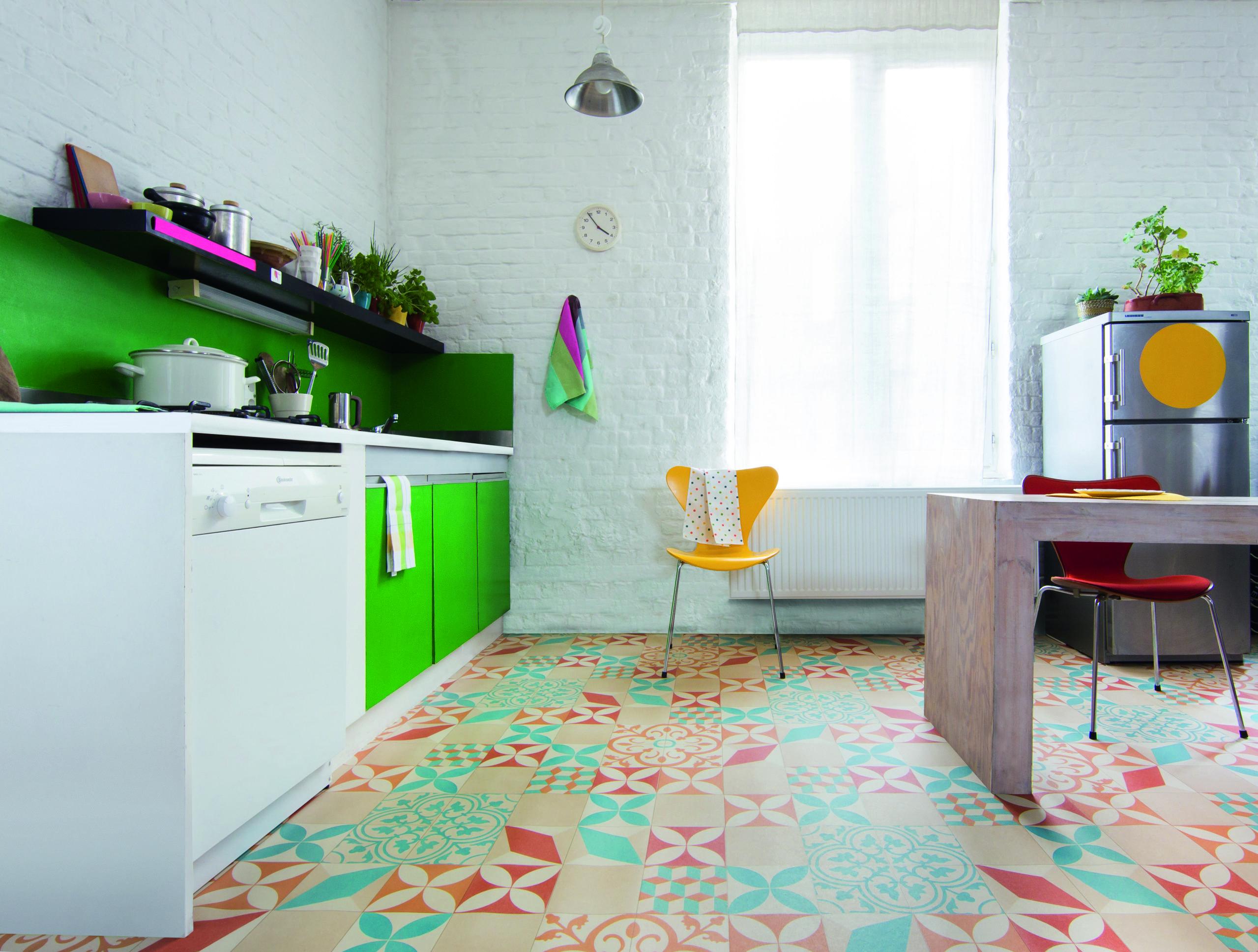 le sol pvc imitation carreaux de ciment la grande. Black Bedroom Furniture Sets. Home Design Ideas