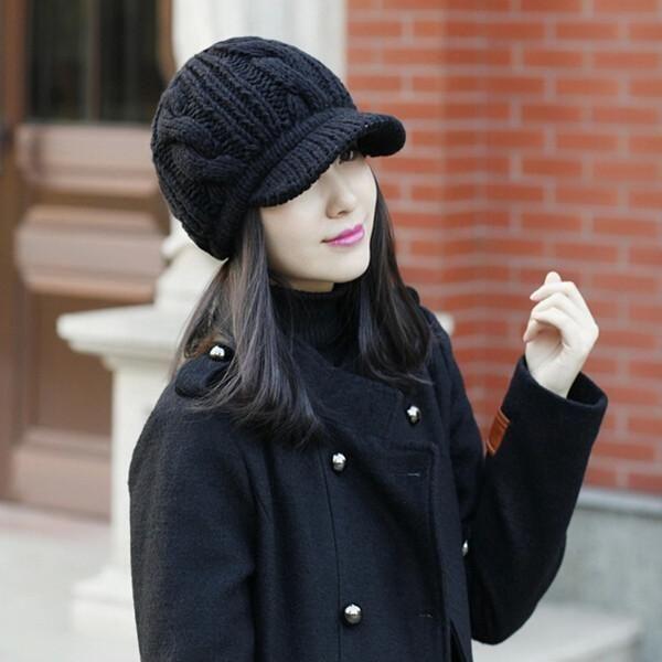 bc18df83f9403 2014 Korean Style Winter Warm Women Crochet Knit Beanie Wool Peaked Hat Cap  Black