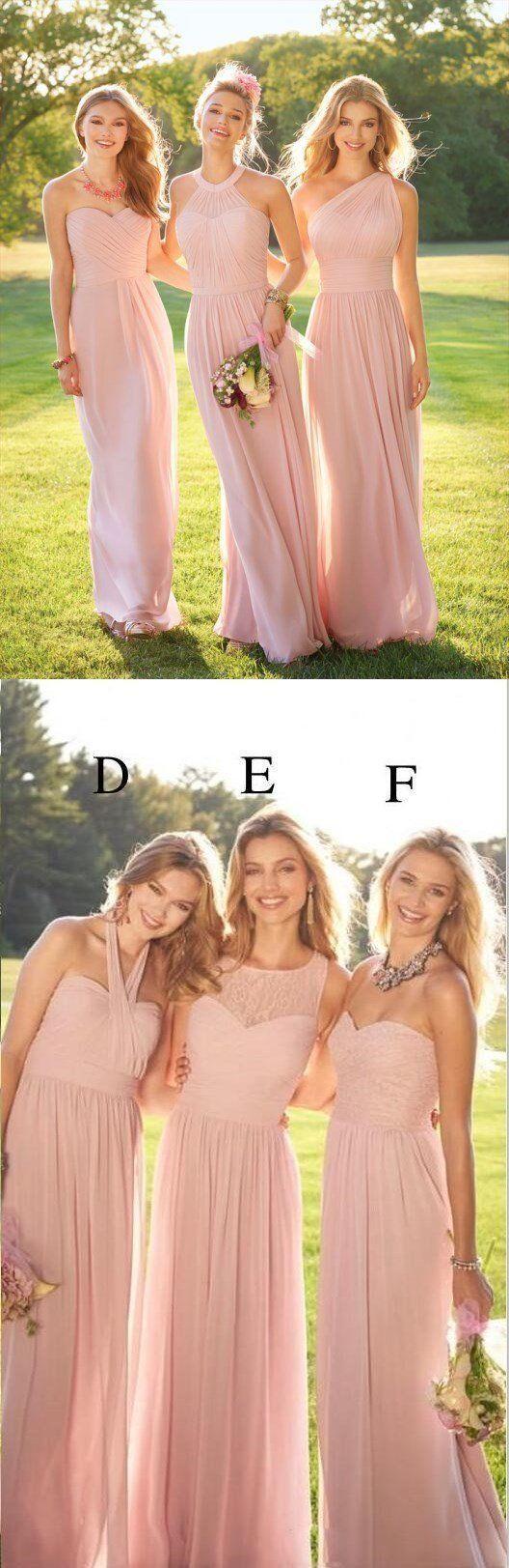 2020 Pastellrosa billige lange Spitze Chiffon Brautjungfernkleider, nicht üben …