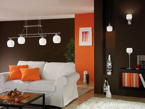 Colori pareti pitturare interni salotto arancio e marrone   art ...