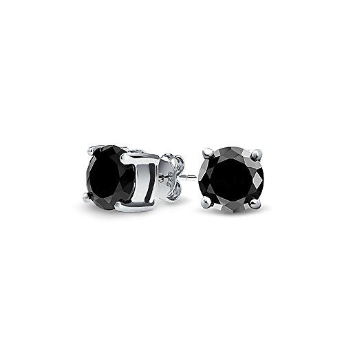 Mens Uni Cz Round Black Stud Earrings Sterling Silver 5mm