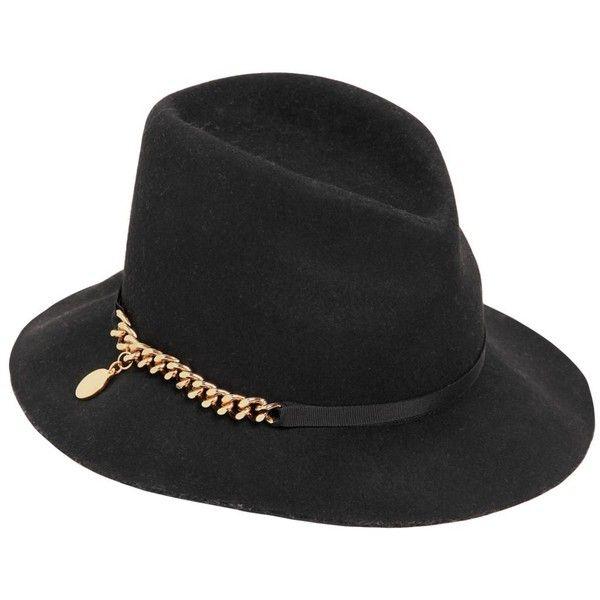 Stella Mccartney Flabella Chain Wool Felt Fedora Hat Black Wool Hat Felt Fedora Black Fedora Hat