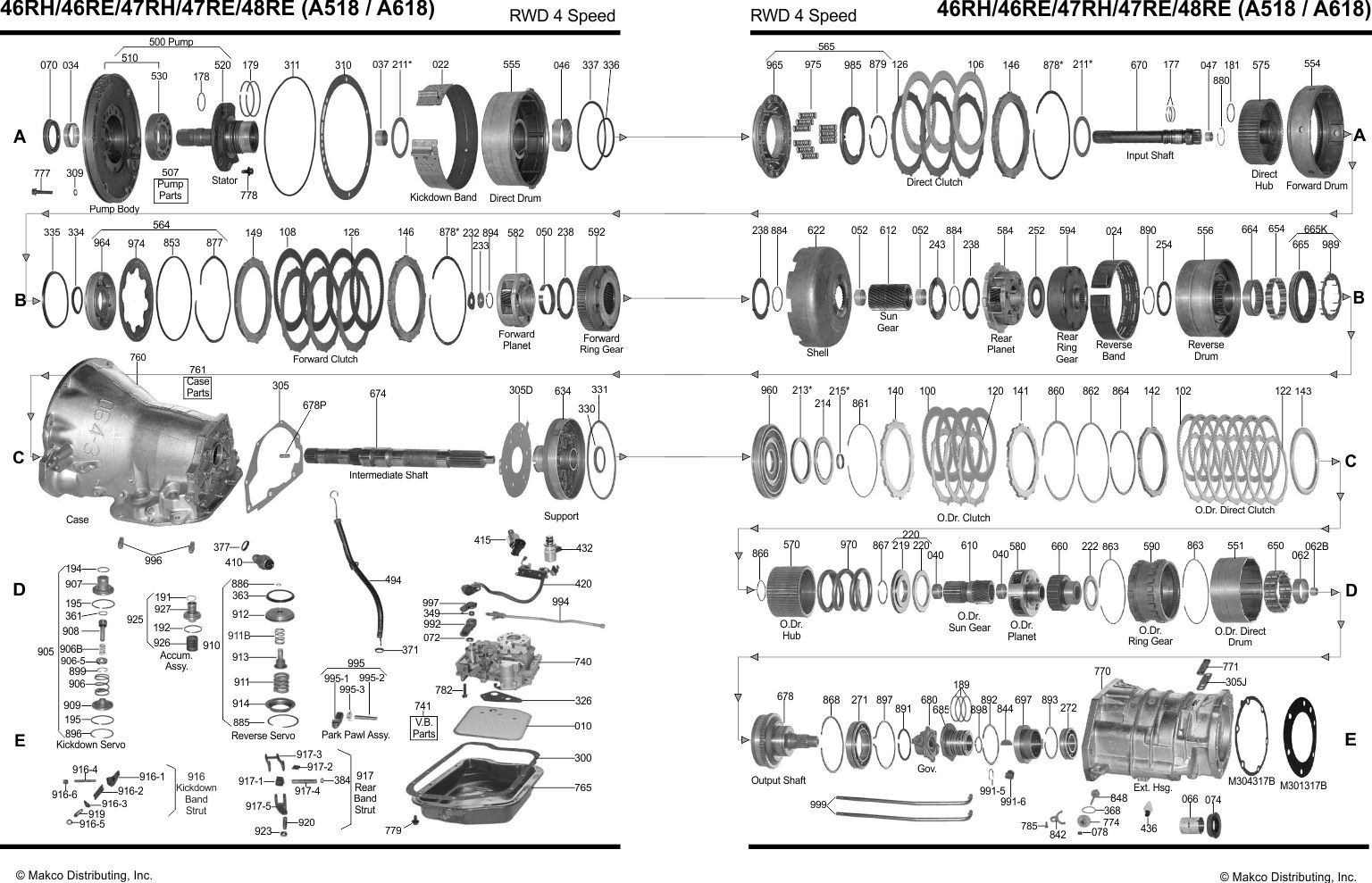 518 automatic overdrive diagram | a518 (46re), a618 (47re, 48re) transmission  parts chrysler rear wheel