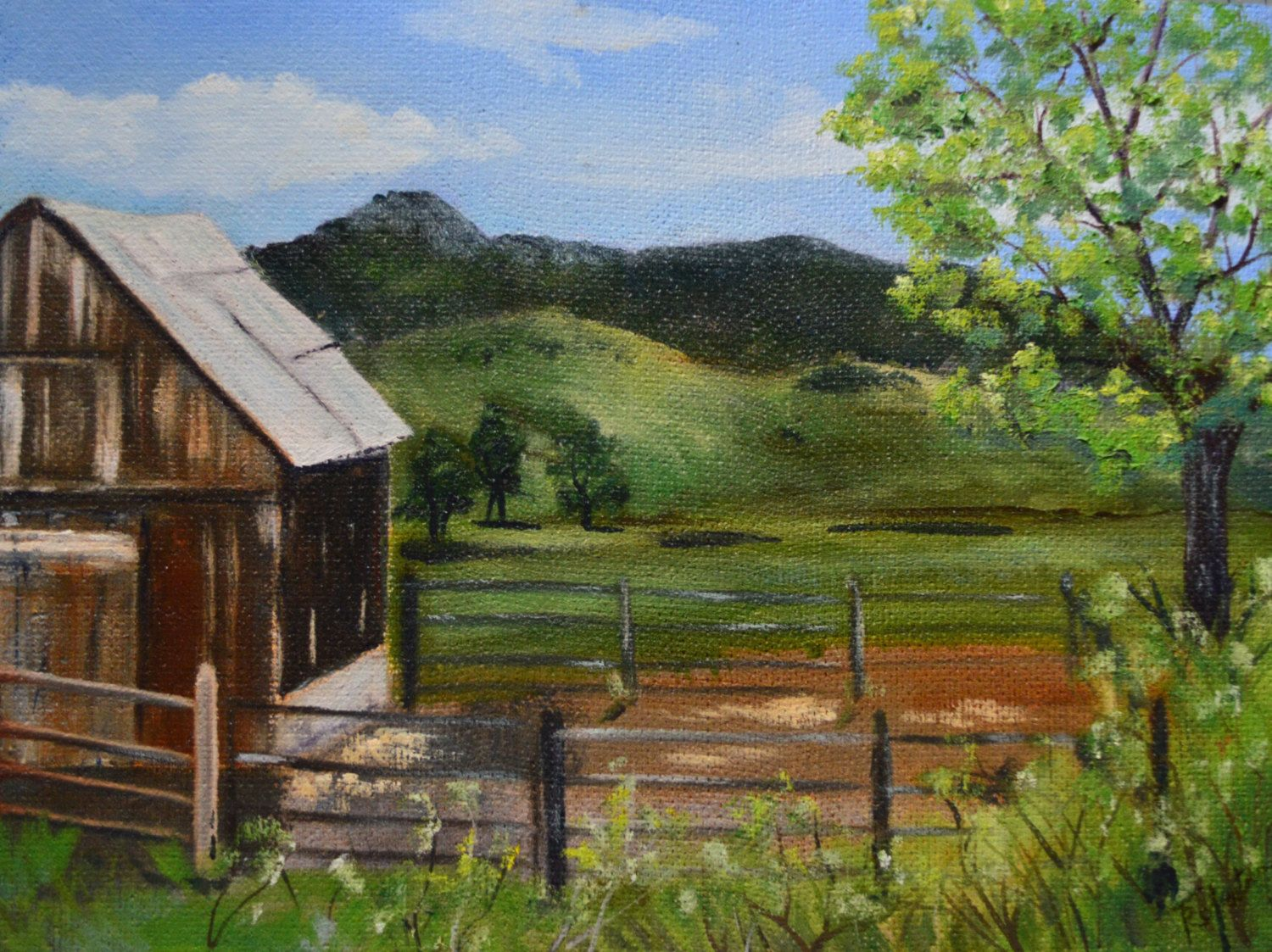 Original fine art barn and mountain oil painting. Painted