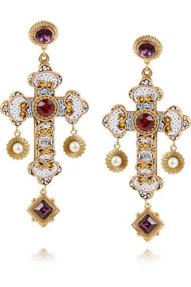 031e0a610 Dolce & Gabbana | Gold-plated Swarovski crystal cross clip ...