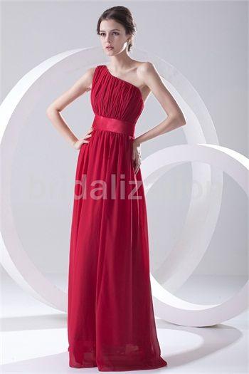 Red Chiffon One Shoulder Apple Sleeveless A-Line Bridesmaid Dresses #wedding #bridesmaid #bridesmaiddress #dress #fashion #bigday #womenfashion #womenwear #2015wedding #gown #gownstyle