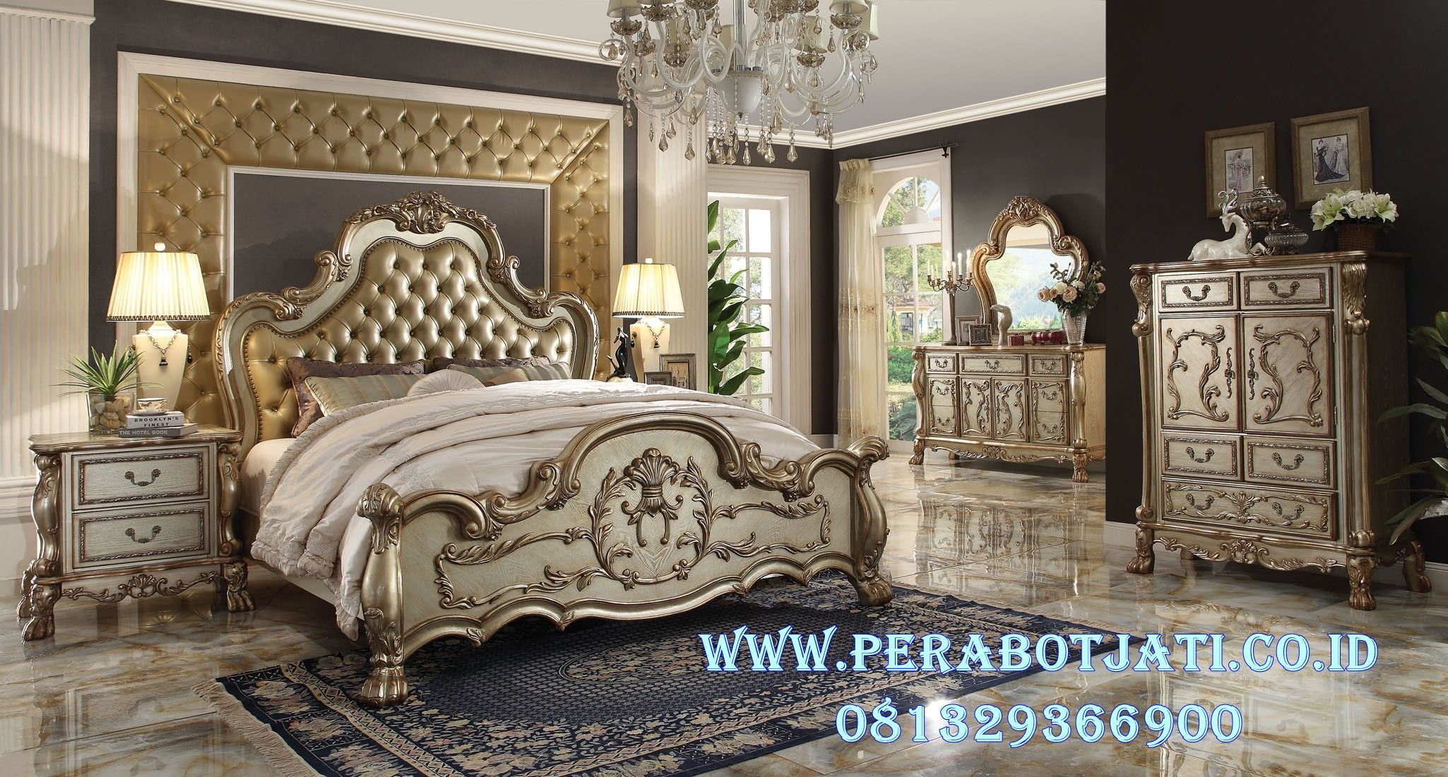 Patina style romantic bedroom - Acme 23160 Dresden Gold Patina And Bone Finish Victorian Bedroom Set With Leather Tufted Headboard