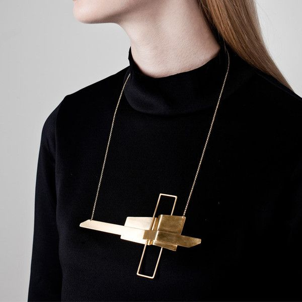 Brass Necklace With Graphic Lines Contemporary Jewellery
