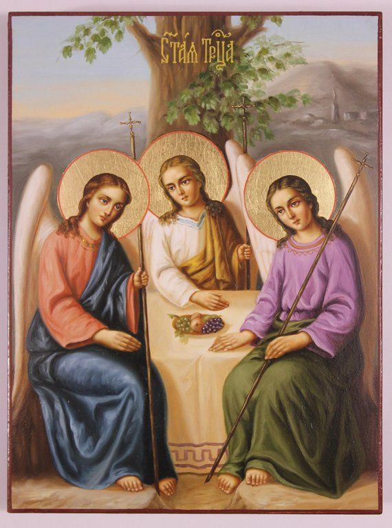 Russian Orthodox Icon the Old Testament Trinity, Holy