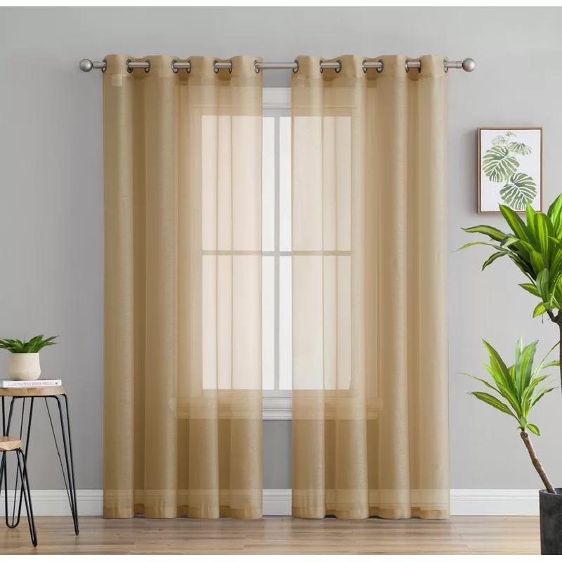 Highlawn Solid Sheer Grommet Curtain Panels In 2020 Grommet